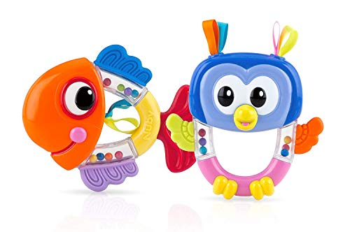 Nuby Rattle Pals Teether Toy, 3 Months Plus (Fish Owl) (Rattle Pal)