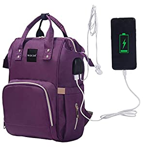 PIN ZHI ZAN Diaper Bag Backpack, Baby Nappy Changing Bags Multifunction Waterproof Travel Backpack with Insulated Pockets Stroller Straps and Built-in USB Charging Port,