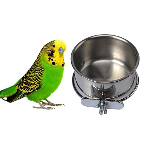 - Pet Bird Food Feeding and Drinking Hanging Cup Clamp Holder Stainless Steel Hanging Bowl for Parrot Macaw African Greys Budgies Parakeet Cockatiels Conure Lovebirds Finch Pigeon Cage