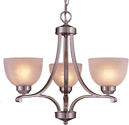 Minka Lavery Chandelier Pendant Lighting 1423-84, Paradox Glass 1 Tier Dining Room, 3 Light, 300 Watts, Nickel