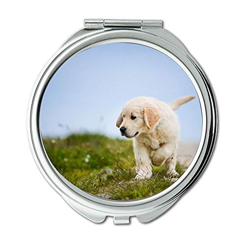 Mirror,Travel Mirror,golden retriever puppy dog golden retriever,pocket mirror,1 X 2X Magnifying