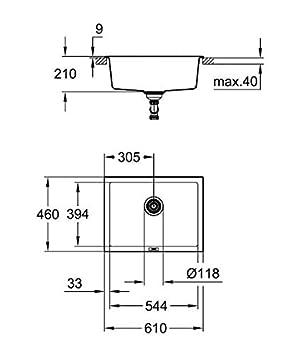 GROHE 31644AP0 /Évier Composite avec /Égouttoir 50cm K500 Noir Granite Import Allemagne
