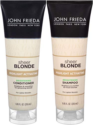 John Frieda Sheer Blonde Highlight Activating Enhancing, DUO set Shampoo + Conditioner (for Lighter Blondes), 8.45 Ounce, 1 each ()
