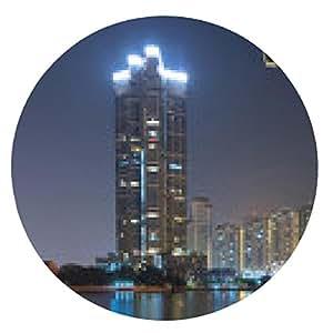 alfombrilla de ratón cámara de seguridad el control de la opinión del paisaje urbano del río en el crepúsculo - ronda - 20cm