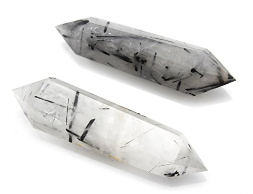 Deyue Natural Tourmilated Quartz Double Terminated Healing Crystal Point Vogel 6 Facet Wand Carved Reiki Stone For Wire Wrapping, Grids, Crafts, Reiki, Wicca and Energy-Approx 3.1-3.6