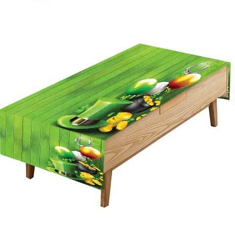 PINAFORE Spillproof Fabric Tablecloth Wood Design Shamrock Lucky Crs Pot G Coins Shoe Fern Green Garden Kitchen Picnic Living Room Hotel Cafe W70 x L104 INCH (Garden Wood Fern)
