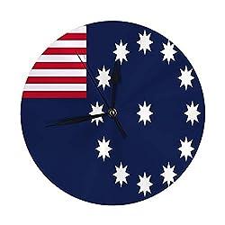 Modern Decorative Round Wall Clock Vectot Flag of Easton Pennsylvania USA Battery Operated 9.8