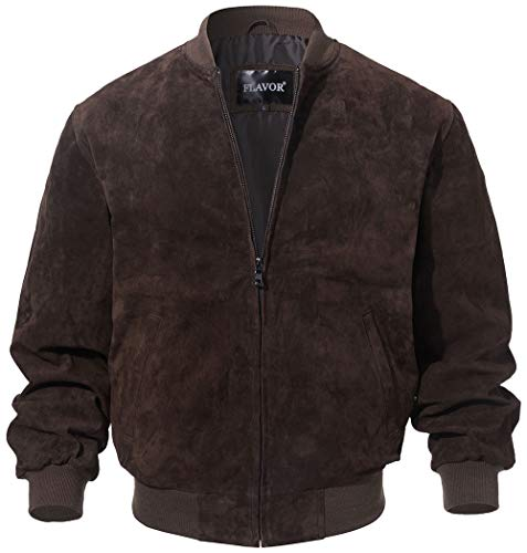FLAVOR Men's Leather Baseball Jacket Vintage Suede Pigskin (X-Large, Dark ()