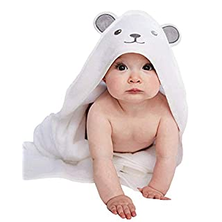 HIPHOP PANDA Bamboo Hooded Baby Towel - Softest Hooded Bath Towel with Bear Ears for Babie, Toddler,Infant - Ultra Absorbent and Hypoallergenic, Natural Baby Towel Perfect for Boy and Girl
