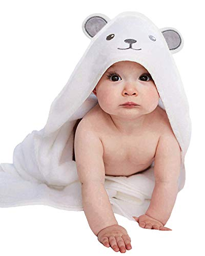 Bamboo Hooded Baby Towel - Softest Hooded Bath Towel with Bear Ears for Babie, Toddler,Infant - Ultra Absorbent and Hypoallergenic, Natural Baby Towel Perfect Baby Shower Gift for Boy and Girl