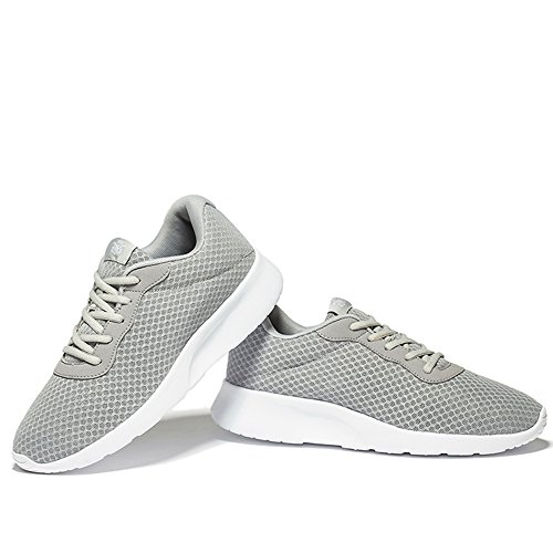 NeedBo Herren Damen Leichte Athletische Laufschuhe, Atmungsaktives Mesh Jogging Walking Sneakers Grau
