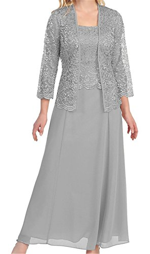H.S.D Womens Lace Mother of the Bride Dress Long Formal Gowns with bolero Silver ()