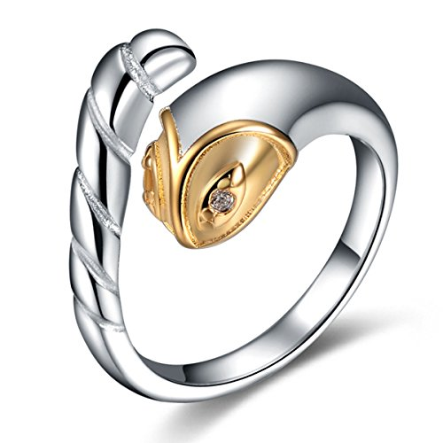 Snake Ring Sterling Silver Gifts for Women Gold Crystal Cuff Adjustable Chinese Zodiac Jewelry