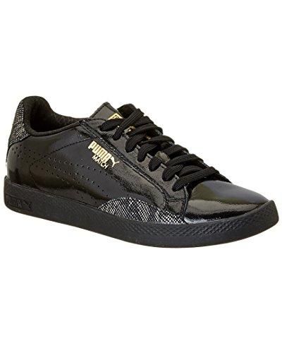 PUMA Women's Match Lo Pnt Snake Wn's Fashion Sneaker, Puma Black/Gold, 8.5 M US