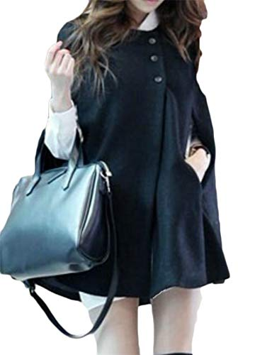Lutratocro Womens Winter Overcoat Pure Color Loose Cape Wool Blend Button Down Poncho Jacket Pea Coat Black L