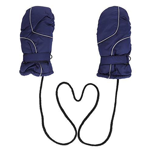 ITODA Thermal Kids Winter Ski Gloves, Cold Weather Windproof Snow Snowboarding Shoveling Cycling Full Palm Protection Mittens with Hanging Neck Rope for Boy Girl
