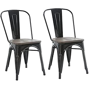 Charmant Buschman Set Of Two Black Wooden Seat Tolix Style Metal Indoor/Outdoor  Stackable Chairs