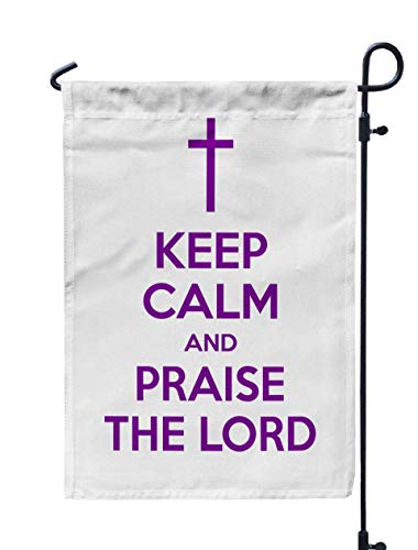 (Shorping Open Garden Flag, 12x18Inch Keep Calm and The Lord Motivational Poster with Purple Sign on for Holiday and Seasonal Double-Sided Printing Yards Flags)