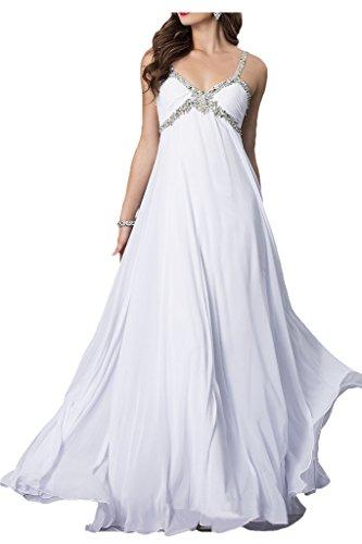 Weiß Partykleid Lang Falte Missdressy Abendkleid Traeger Empire Damen Chiffon Pailette qpnOPfR