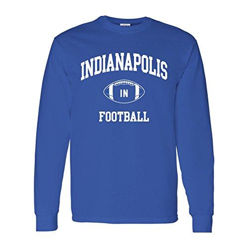 Pro Football Indianapolis - Indianapolis Classic Football Arch American Football Team Long Sleeve T Shirt - Large - Royal