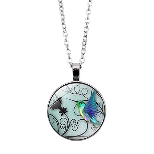 Hummingbird Pendant Sterling (856store New Vintage Hummingbird Photo Cabochon Glass Chain Pendant Necklace Jewelry Gifts - Silver)