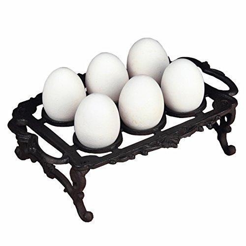 Ogrmar Vintage Cast Iron 6 Egg Holder Tray with Handles for Kithcken (Black) by Ogrmar