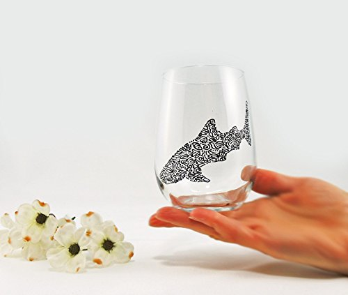 Hand painted whale shark stemless wine glass (Goblet Design Fish)