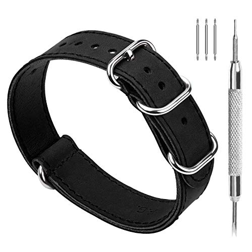 Fullmosa NATO Leather Watch Band, 3 Colors Leather Zulu Military 22mm 20mm 18mm 24mm Watch Bands,22mm Black