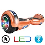 XtremepowerUS Self Balancing Scooter Hoverboard UL2272 Certified, w/Bluetooth Speaker and LED Light (Rose Gold)