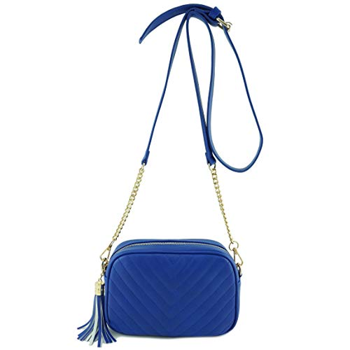 (Simple Shoulder Crossbody Bag With Metal Chain Strap And Tassel Top Zipper (Royal Blue))