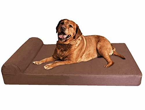 Dogbed4less Premium Jumbo Head Rest Orthopedic Gel Memory Foam Dog Bed for Large and Extra Large Breed Dogs, Waterproof Liner with Durable Denim Cover, 55