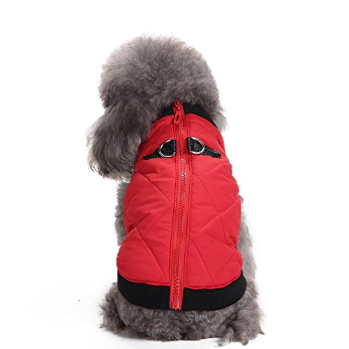 SELMAI Warm Soft Cold Weather Small Dog Cat Vest Harness Clothes with Zipper Pet Puppy Coat Jacket Puffer Apparel Red XS