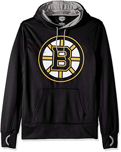 - NHL Boston Bruins Male OTS hooded Pullover, Jet Black, Medium