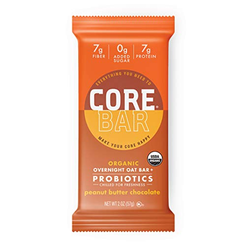 CORE Foods Organic Overnight Oat Bar + Probiotics, Gluten Free, non-GMO, Vegan, Kosher, Prebiotics, Peanut Butter Chocolate, 2 oz, 16 Refrigerated Bars