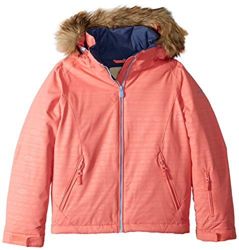Roxy Little American Pie Girl Embossed Snow Jacket, Shell Pink_Indie Stripes, 10/M ()