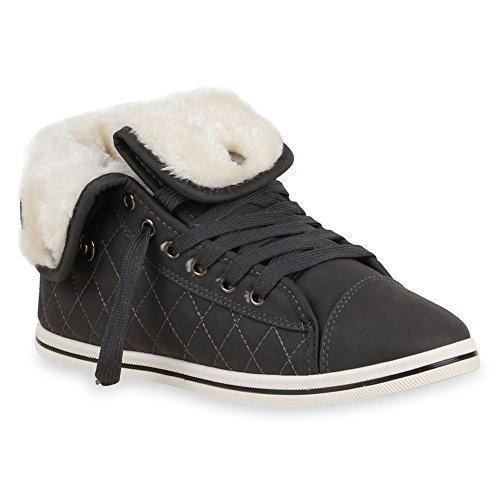 Kunstfell Winter Turnschuhe Sportschuhe 36 Dunkelgrau Flandell 42 Sneaker Gefütterte Damen Sneakers Gr High Stiefelparadies Übergrößen Warm Schuhe Gesteppt qS8Hwxp