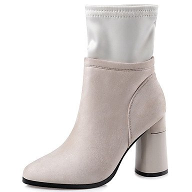 CN38 Ankle Winter For Boots Combat Heel Booties Chunky Pointed Dress Boots US7 Shoes EU38 Boots Zipper Fall Fashion Casual RTRY Boots Toe 5 5 Fabric UK5 Women'S nUzF0xxZ