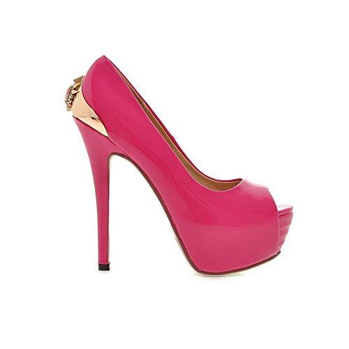 Sandals AmoonyFashion Stilettos RoseRed Pull Toe Pu Solid Womens Peep Spikes On IZHrwZxz