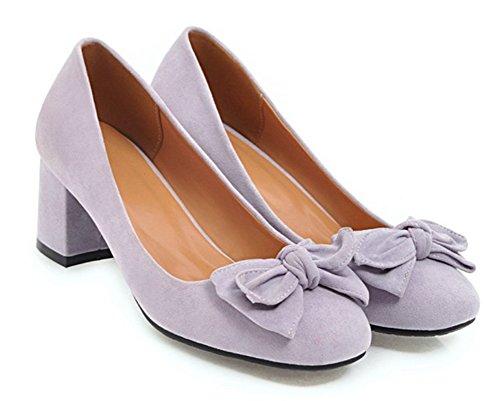 Décolleté A Punta Tonda Donna Aisun Con Fiocco - Blazer Scarpa Basso A Taglio Basso - Slip On Medium Heel Purple