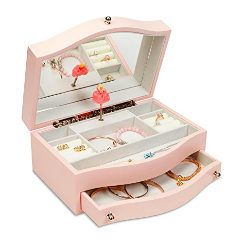 JewelKeeper Girls Wooden Music Jewelry Box with Pullout Drawer, Classic Design with Ballerina and Mirror, Somewhere Over The Rainbow Tune, Rose Pink (Vintage Mirror Cream Large)