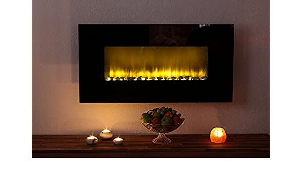 Eurosell Designer LED pared Chimenea Chimenea Eléctrica/efecto Fuego LED - Intensidad Potencia 2 niveles de calor ajustable - 2000 W mando a distancia ...
