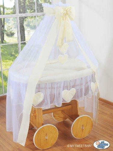 De Luxe – corazón colección – con ruedas grande mimbre cesta de cuna/moisés/
