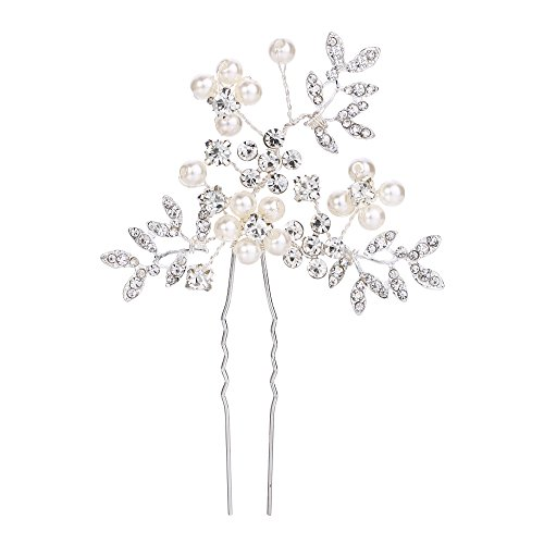 BriLove Women's Wedding Bridal Cream Simulated Pearl Crystal Filigree Leaf Hair Pin Clear Silver-Tone