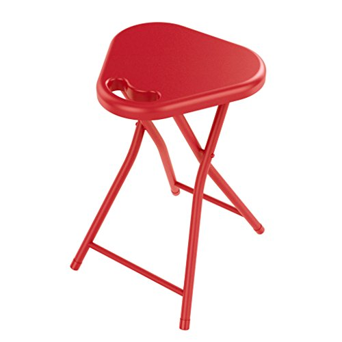 dar Living Folding Stool with Handle, Red (4-Pack)