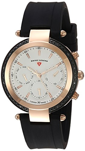 Swiss Legend Women's 'Madison' Quartz Stainless Steel and Silicone Casual Watch, Color:Black (Model: 16175SM-RB-02)