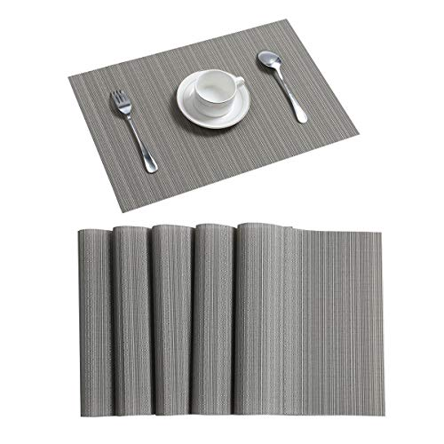 Pauwer Grey Placemats Set of 6 for Dining Table Woven Vinyl Placemats Washable Heat Resistant Kitchen Table Placemats Wipe Clean