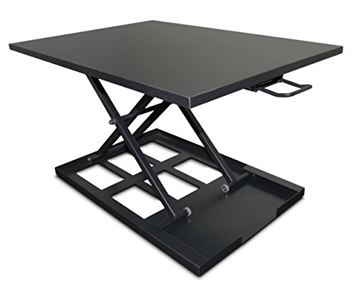 Standing Desk Converter Adjustable Height - Sit To Stand Up Desktop Table Riser - Elevating Computer Laptop Notebook Workstation Rising Portable Black Tabletop - Best Office Exercise Work Station by Perfect Life Ideas