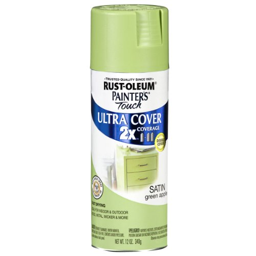 Lime Green Spray Paint - Rust-Oleum 249077 Painter's Touch Multi Purpose Spray Paint, 12-Ounce, Satin Green Apple