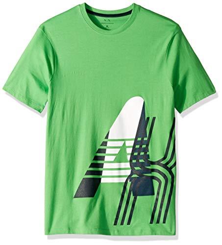 A|X Armani Exchange Men's Short Sleeve Crew Neck Large Graphic Logo T-Shirt, Classic Green, Lg - T-shirts Green Armani Mens