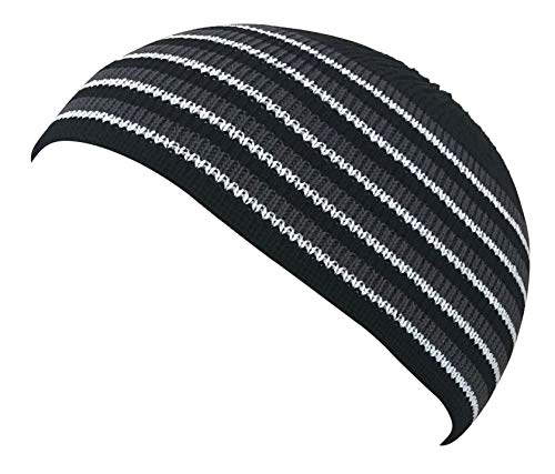 - 100% Cotton Skull Cap Chemo Kufi Under Helmet Beanie Hats in Solid Colors and Stripes (Black with Gray and White Bands)